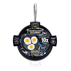 "Granite Stone 14"" Extra Large Frying Pan Skillet, Triple Coated with Ultra Nonstick Mineral Coating & Heavy Duty Stainless Steel Helper Handle"