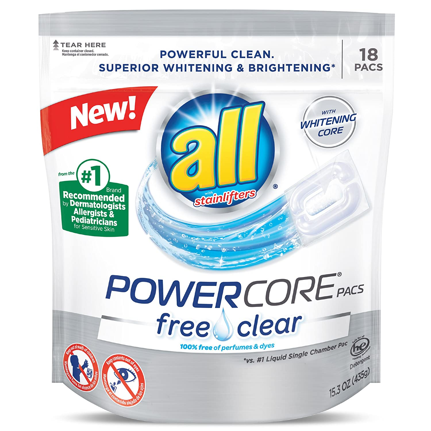 Amazon.com: All Power Core Pacs Laundry Detergent, Free Clear, 18 Count: Health & Personal Care