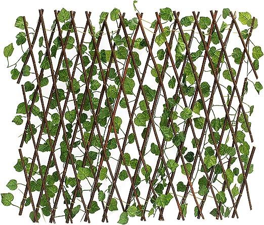 Bureze Valla de Hiedra Artificial expandible para jardín o Patio: Amazon.es: Hogar
