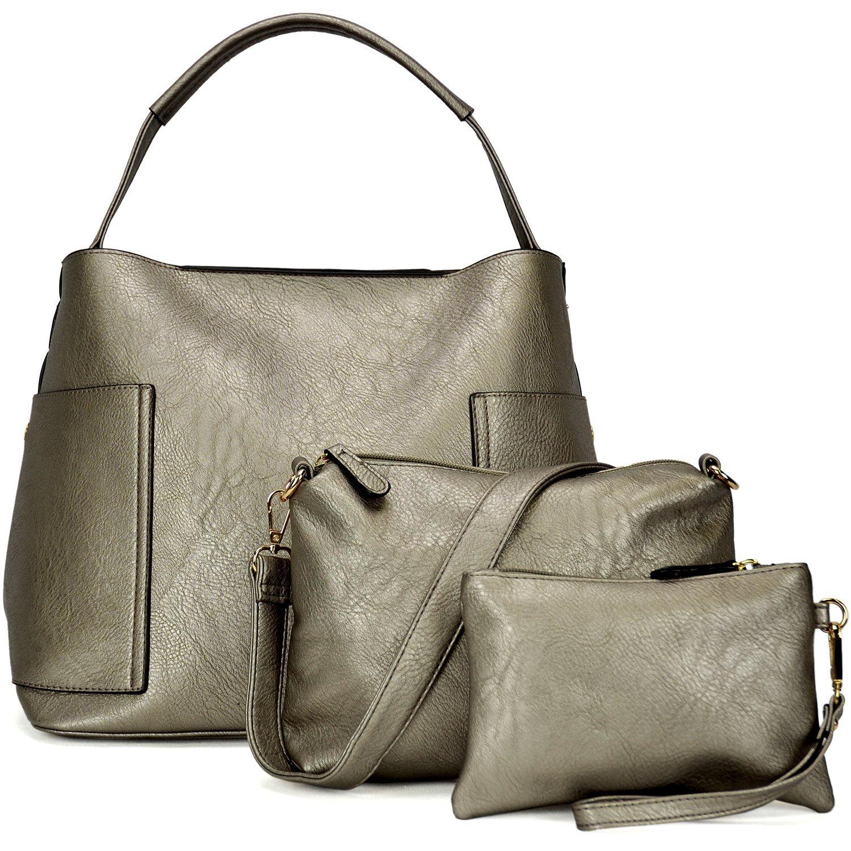 3pcs Women Vegan Leather Handbags Designer Hobo Bag