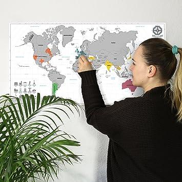 #benehacks Mapa del Mundo en Italiano Tipo póster para rascar SIGA Sus Aventuras de Viaje en un Mapa detallado del Mundo - Mapamundi Plata/Blanco - 84 x 44 ...