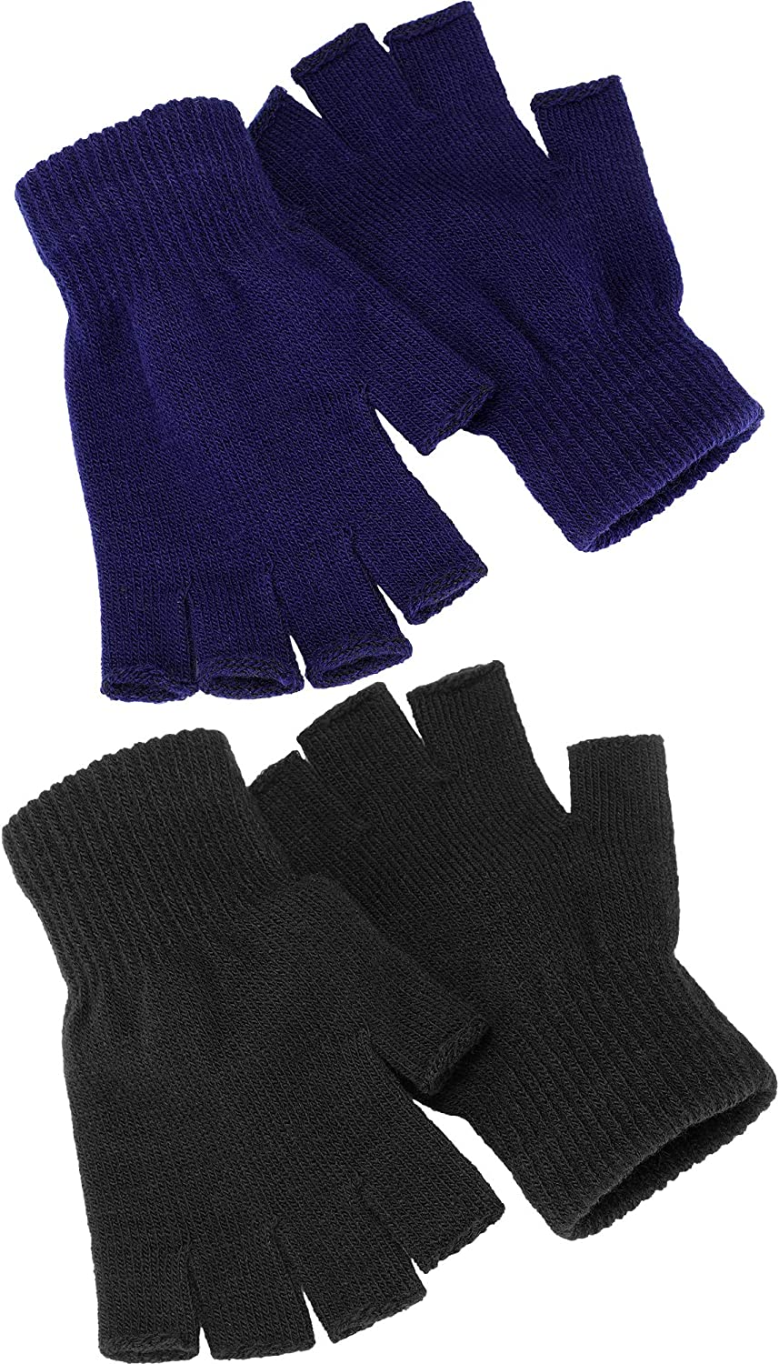 Satinior 2 Pair Unisex Half Finger Gloves Winter Stretchy Knit Fingerless Gloves in Common Size