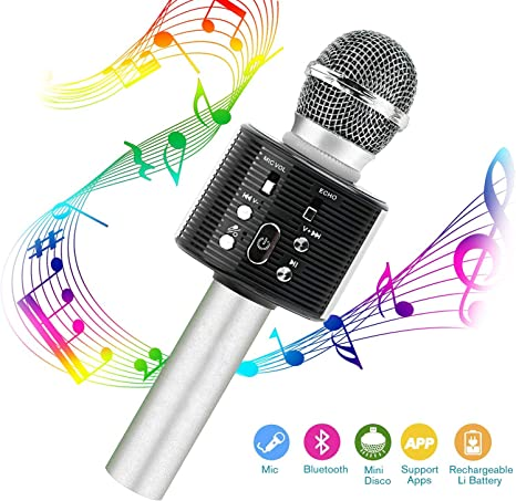 YZCX Micrófono Karaoke 4 en 1 Bluetooth Micrófono Inalámbrico ...