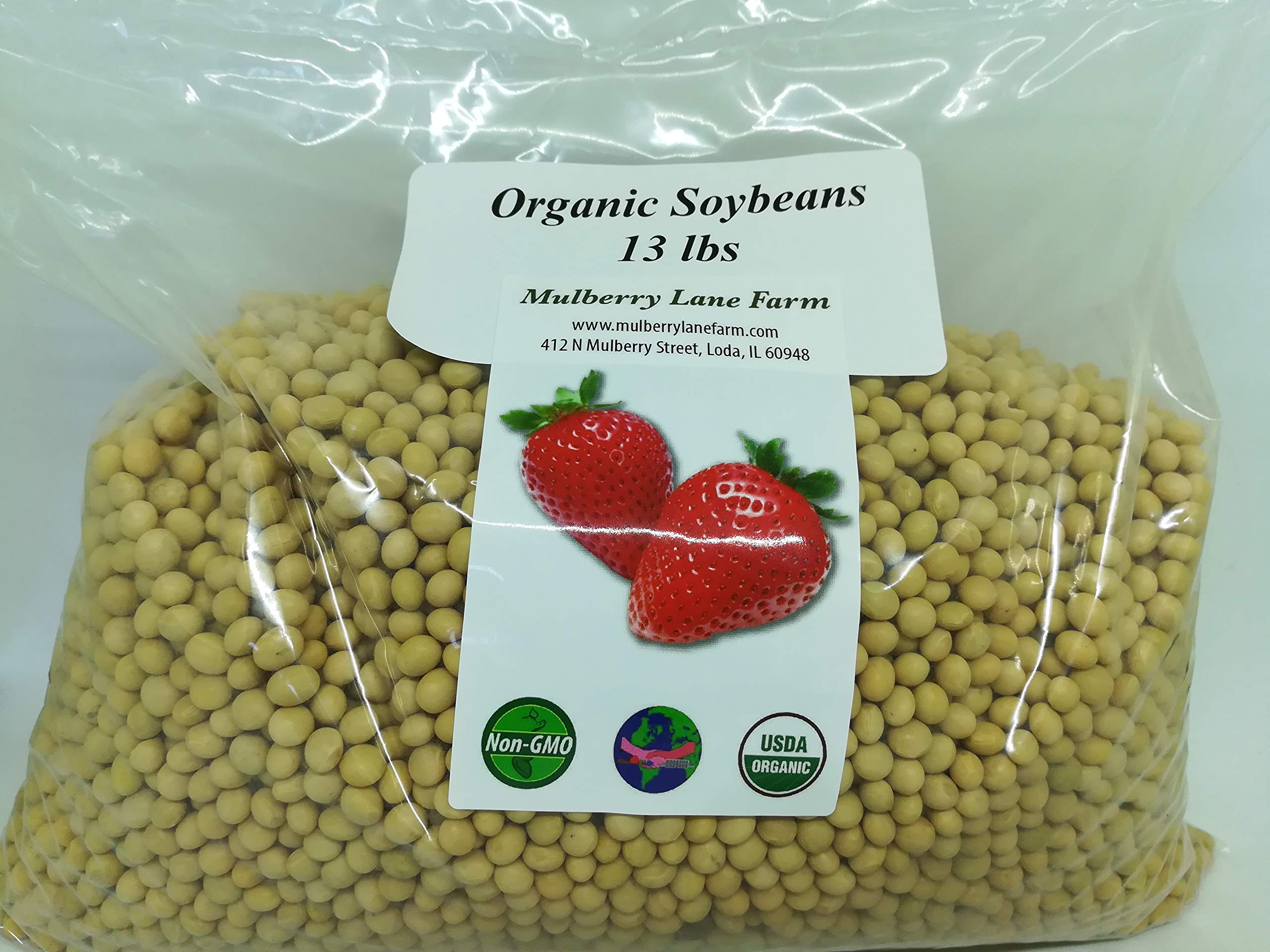 Soybeans 13 Pounds Soy Beans Whole USDA Certified Organic Non-GMO Bulk by Mulberry Lane Farms