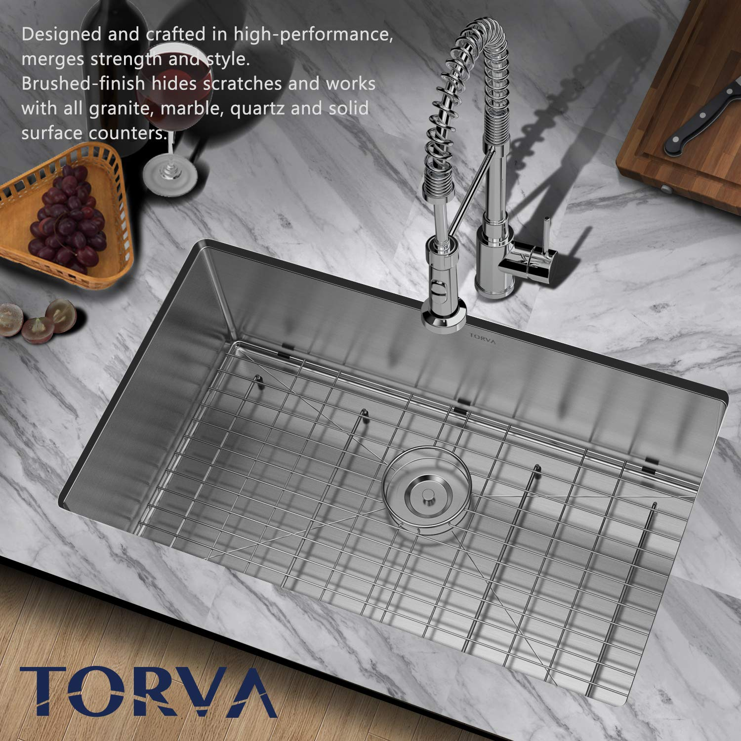 TORVA 30 Inch 16 Gauge Stainless Steel Undermount Kitchen Sink Single Bowl 10'' Deep by TORVA (Image #2)