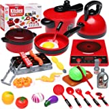 aotipol Play Kitchen Accessories Set with Sound - Kids Kitchen Pretend Toys with Pots & Pans, BBQ Grill, Cutting Play Food, C