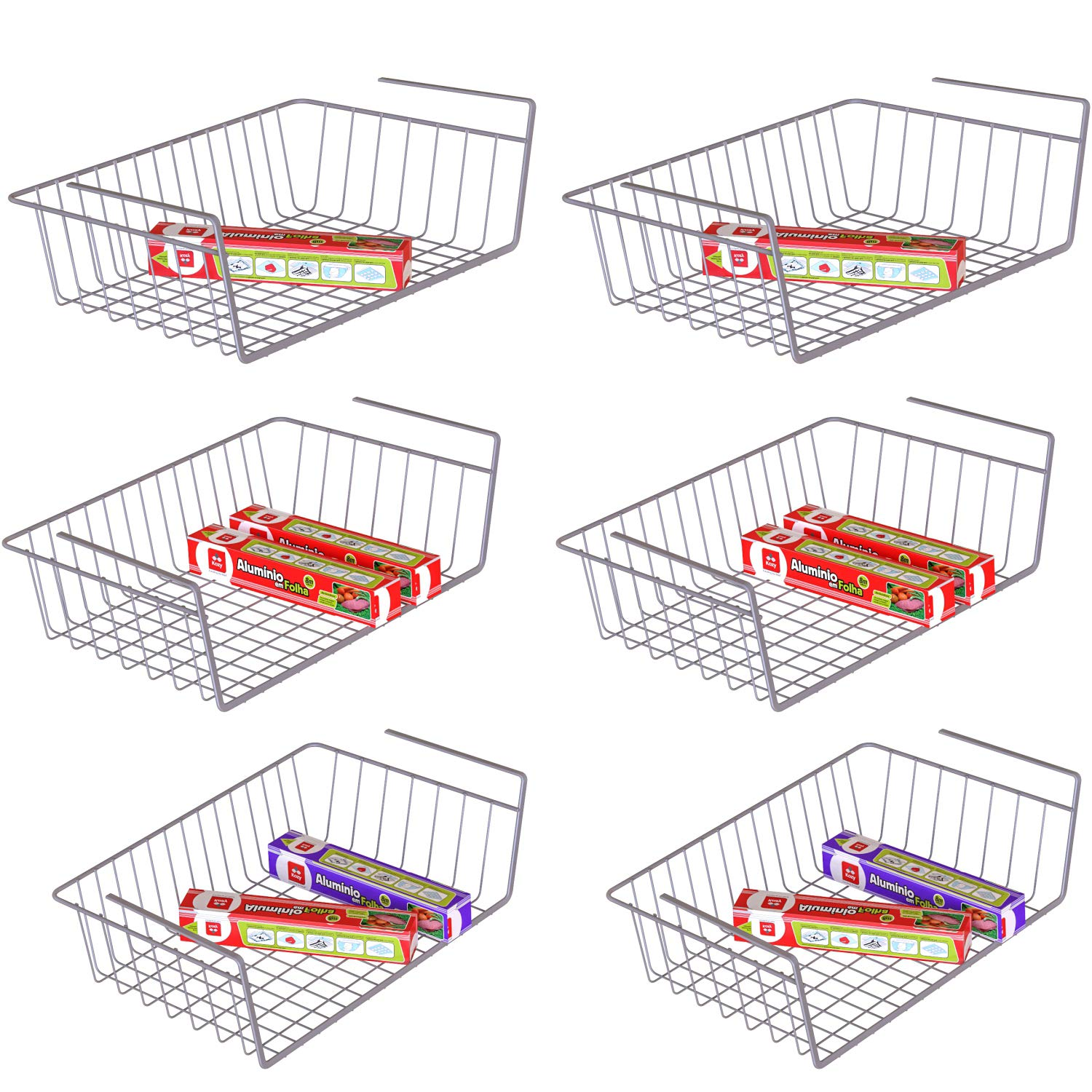 Under Shelf Basket, iSPECLE 6 Pack Wire Rack, Slides Under Shelves For Storage, Easy to Install Grey by iSPECLE