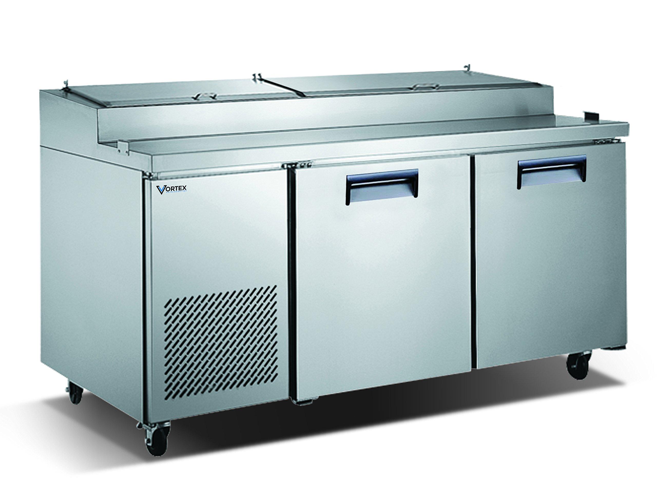 Vortex Refrigeration Commercial 2 Door, 67'' Pizza Prep Table - 16.9 Cu. Ft.