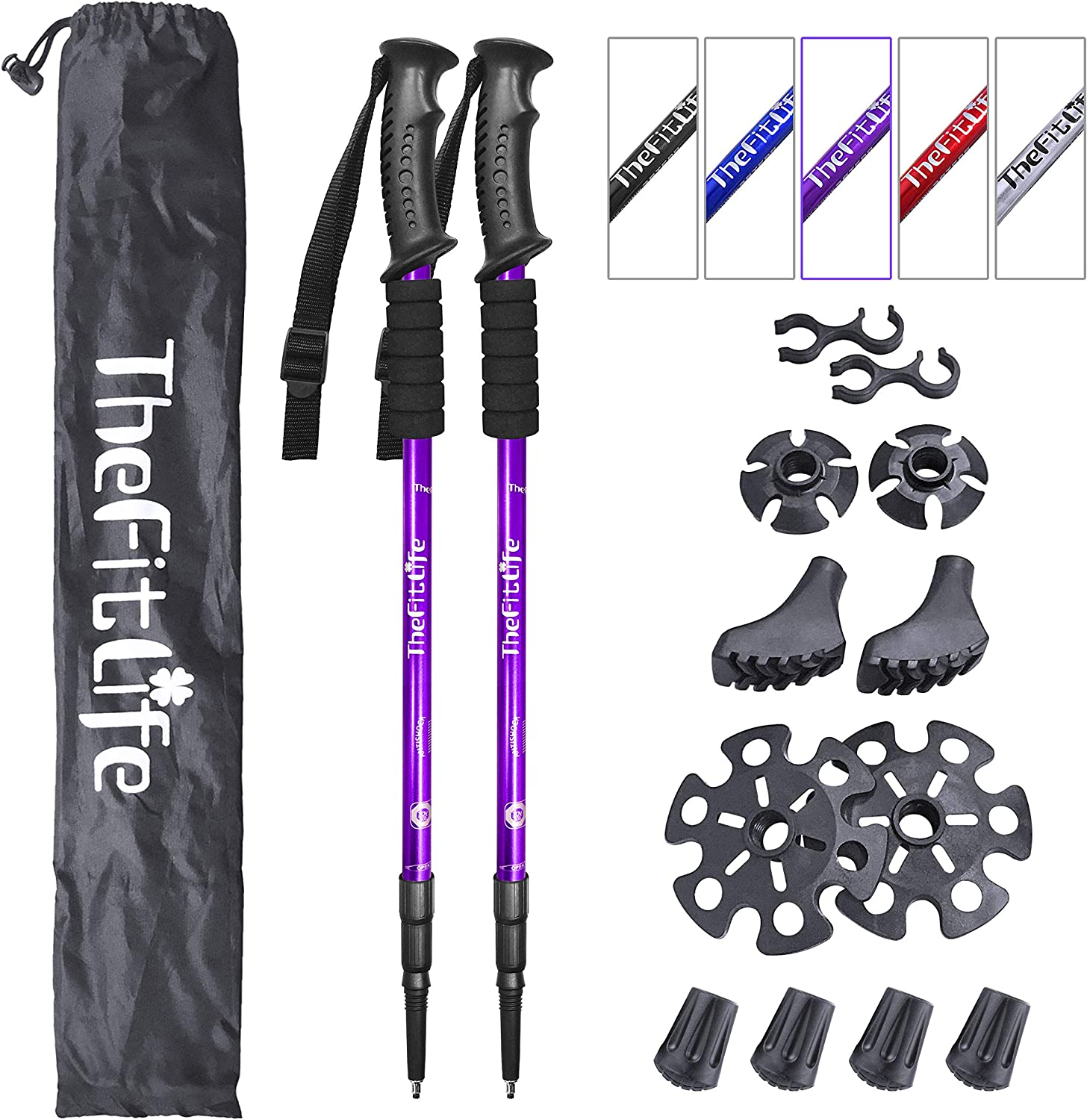 TheFitLife Nordic Walking Trekking Poles – 2 Pack with Antishock and Quick Lock System, Telescopic, Collapsible, Ultralight for Hiking, Camping, Mountaining, Backpacking, Walking, Trekking