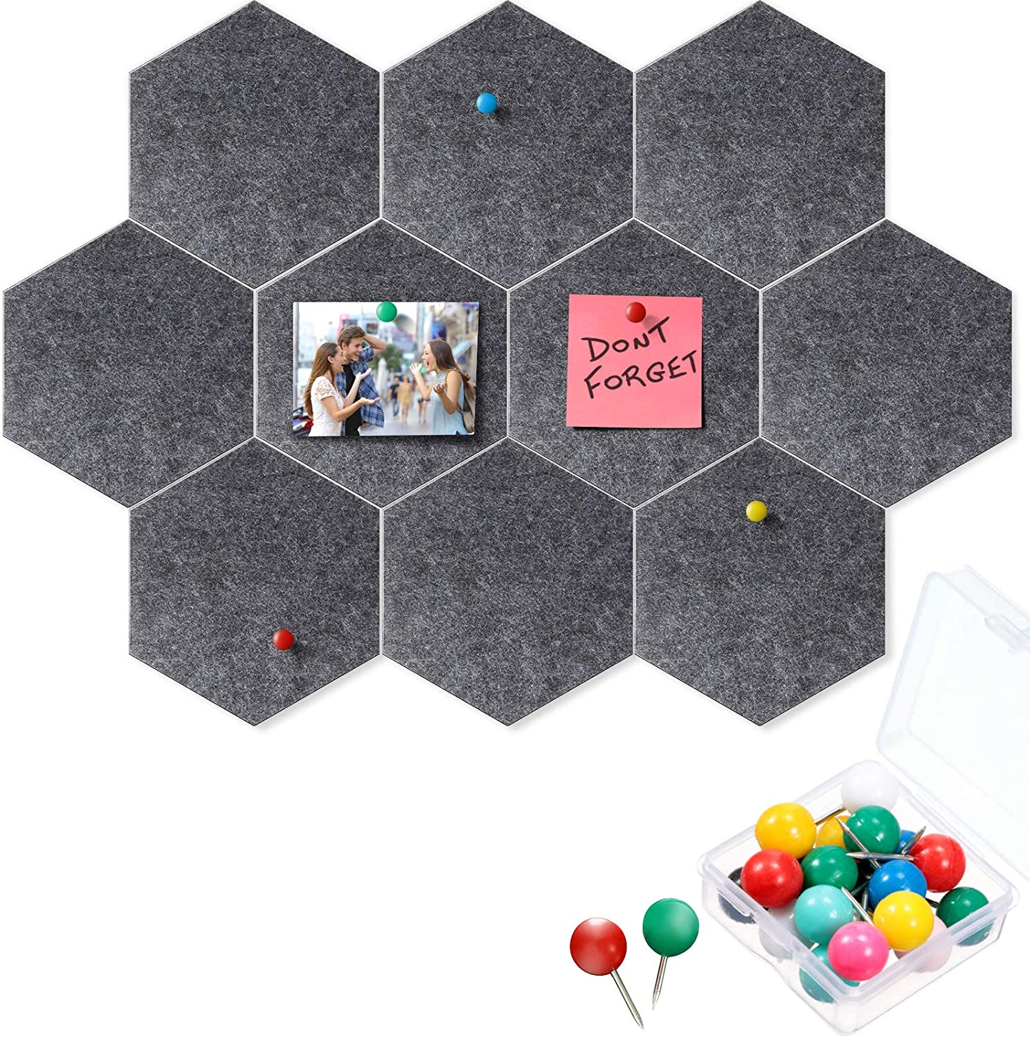 10 Packs Pin Board Hexagon Felt Board Tiles Bulletin Board Memo Board with 20 Pieces Push Pins, Decoration for Home Office Classroom Wall (Dark Gray, 5.9 x 7 Inches/ 15 x 17.7 cm)