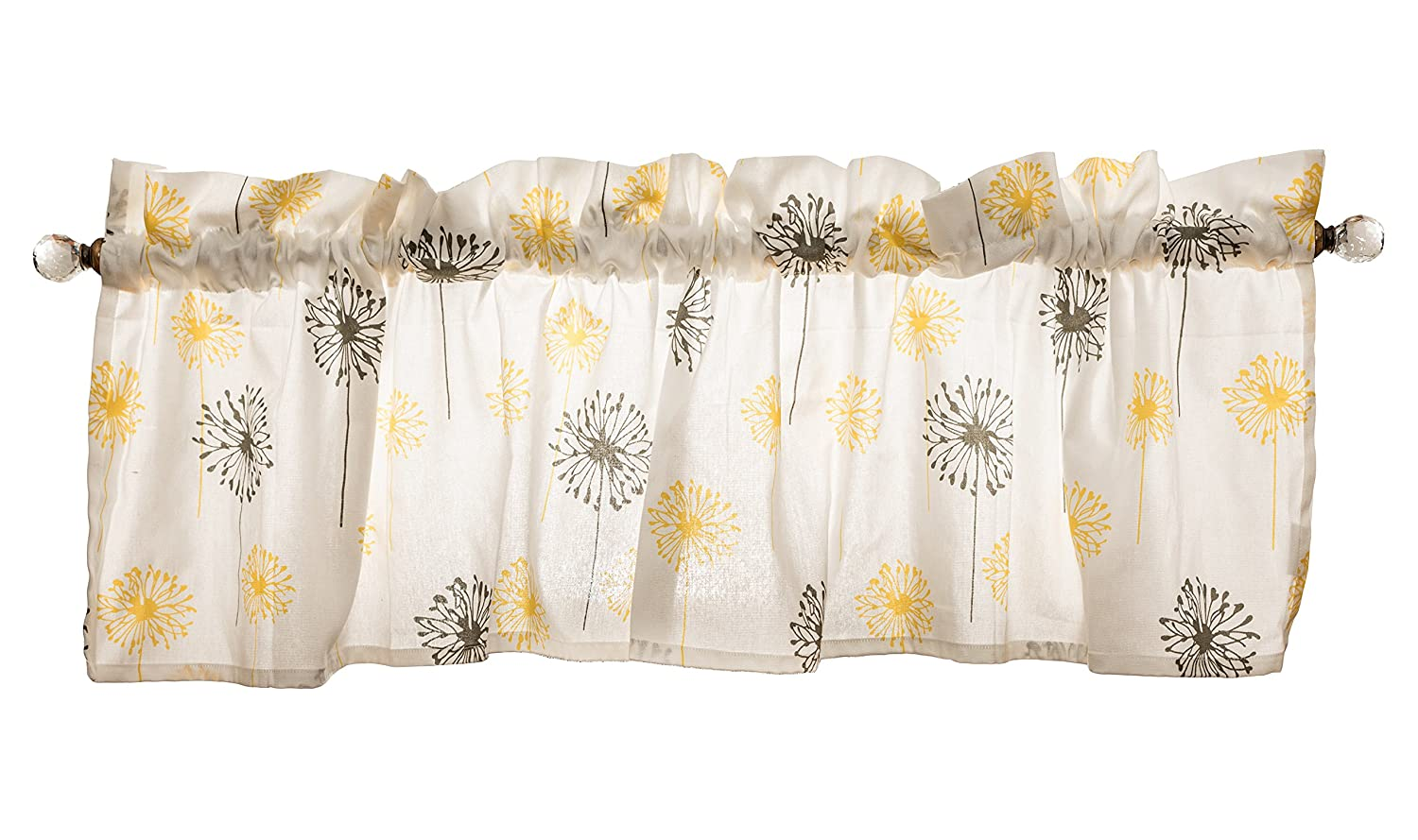 Crabtree Collection Grey & Yellow Dandelion Curtain Valance for Windows - 40cm x 152cm PWV-2016