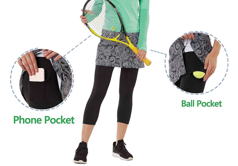 HonourSport Pantalones de Falda de Mujer Corte de Hendidura Deportes Tenis Golf Rock Legging 3/4 Tela elástica 2 en 1