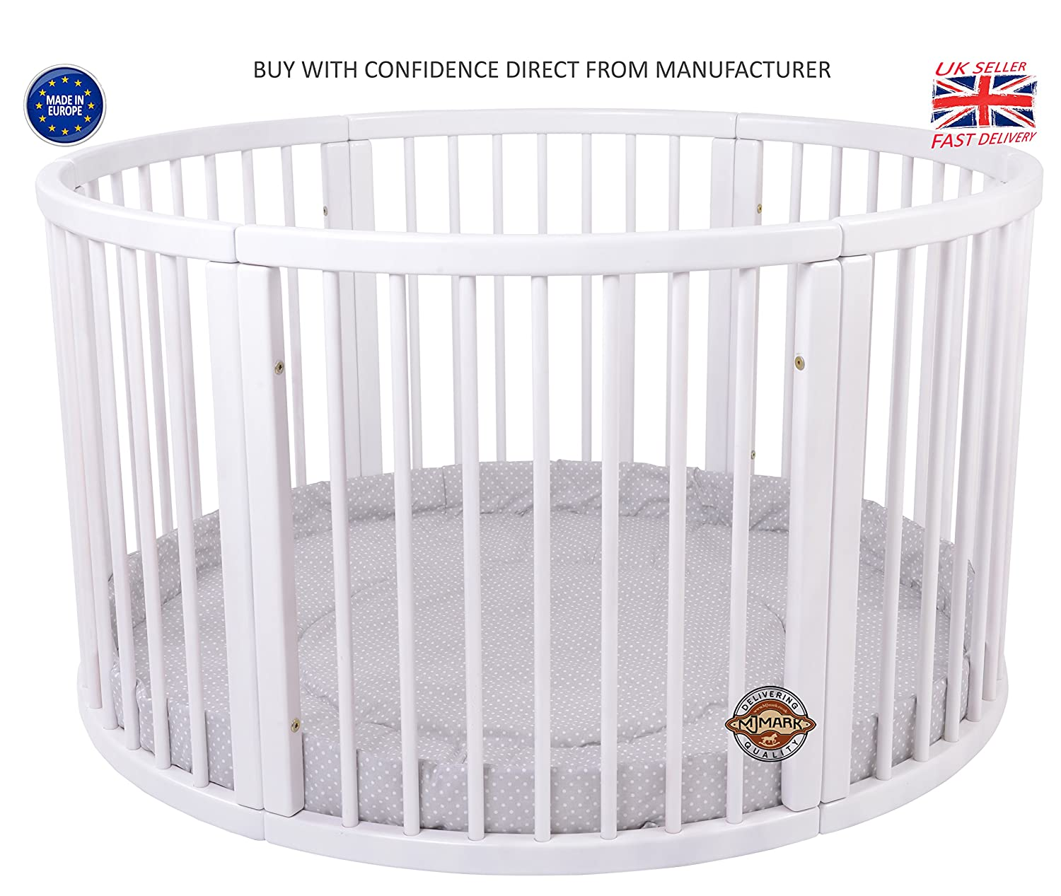 LARGE Round PLAYPEN ATLAS DUE with play-mat in Grey with white Polk Dots by MJmark SALE SALE Brand NEW VERY LARGE Wooden Playpen