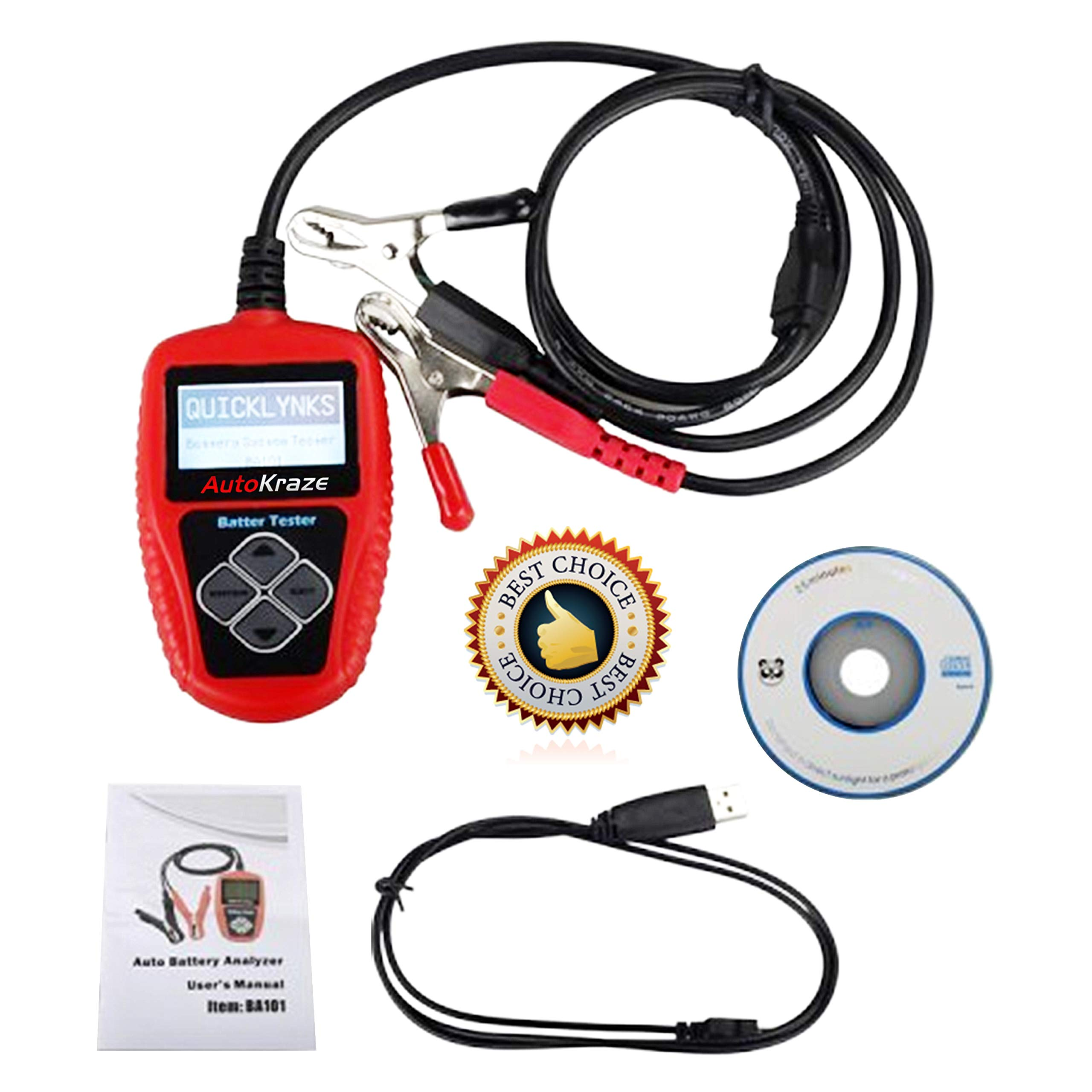 AutoKraze BA101 Automotive Battery Load Tester 12V 100-2000 CCA Bad Cell Test Analyzer Tool Directly Test Car, Boat, and Motorcycle Battery Status Portable, Digital and Rechargeable Battery Tester by AutoKraze (Image #3)