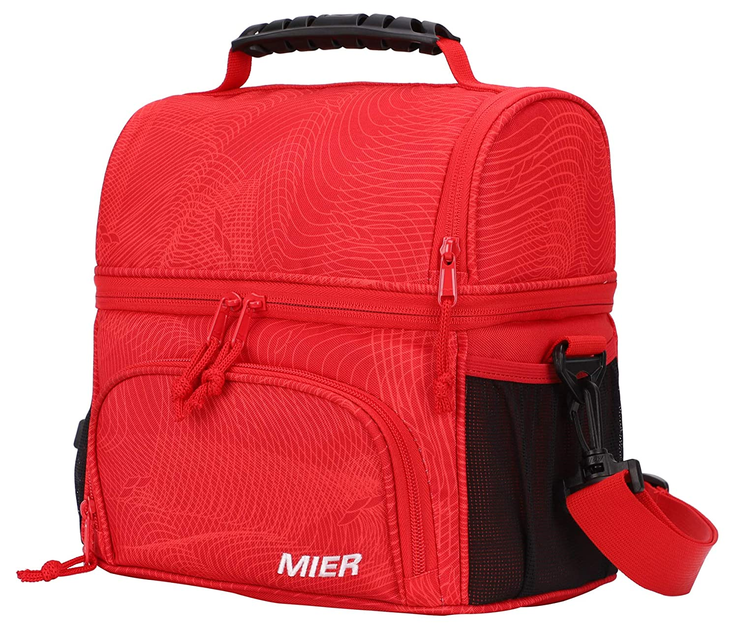 MIER Insulated Lunch Bag Tote for Women Men Kids 2 Compartment Reusable Soft Cooler Bag for Work, School, Medium, Black