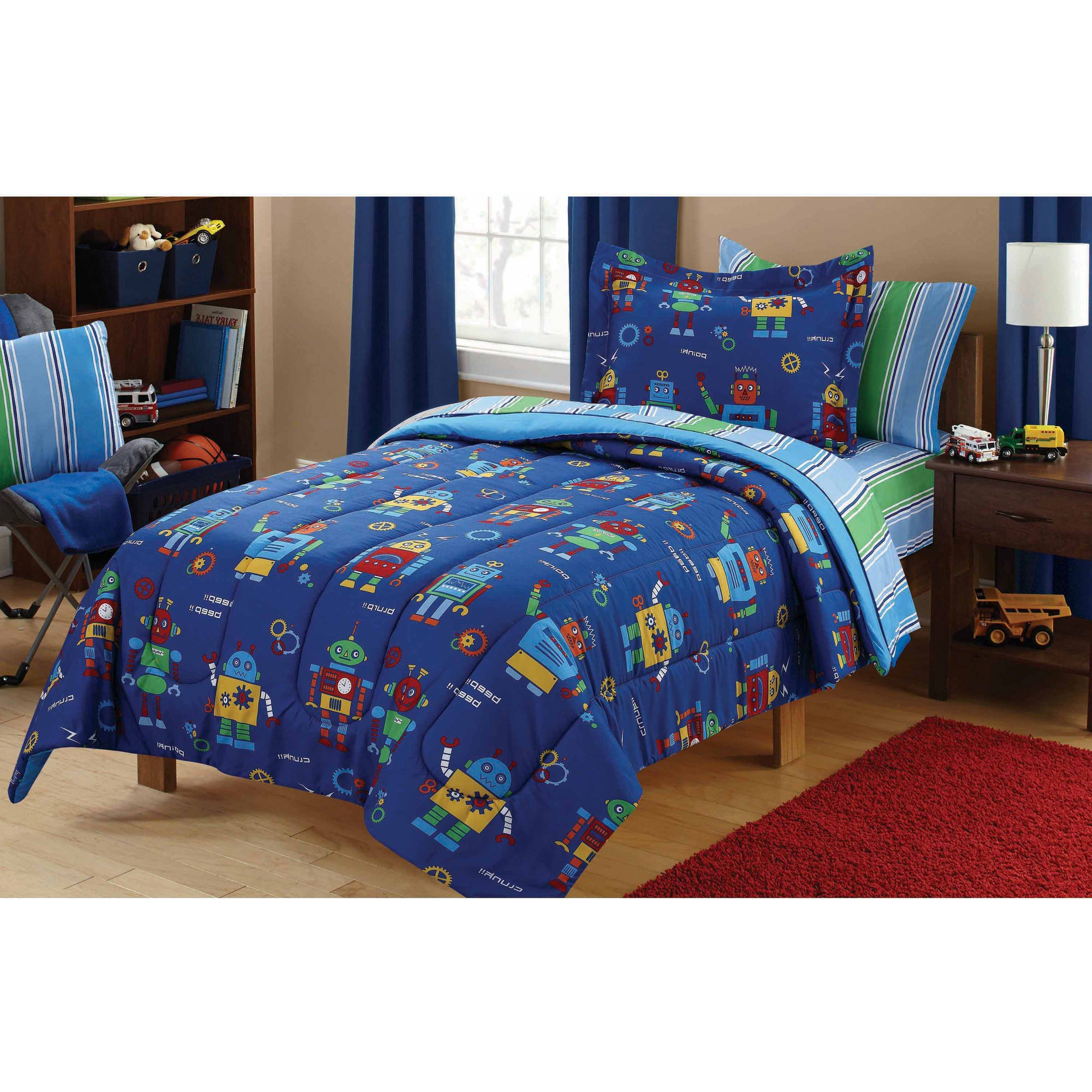 7 Piece Kids Boys Blue Green Robots Comforter Full Set, Red Robot Bedding Science Fiction Themed Bed In Bag Futuristic Machine Mechanic Gear Droid Fantasy Adventure Novelty Graphics Design, Polyester