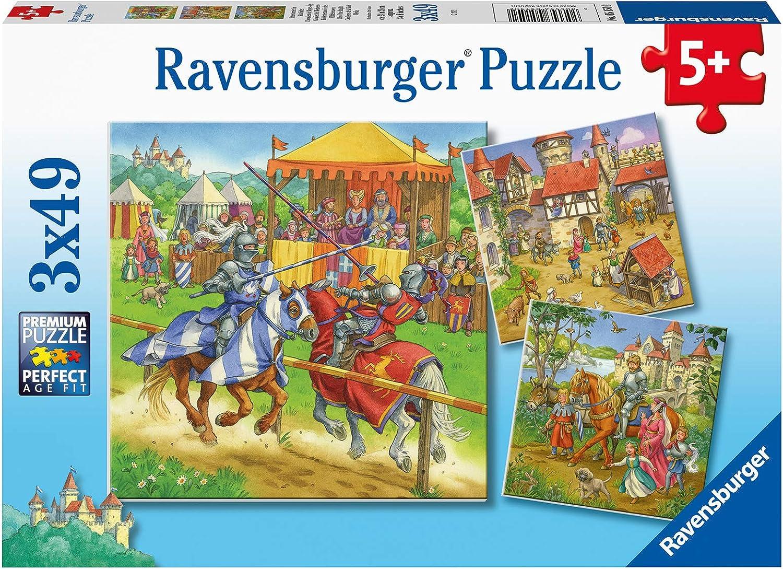 Ravensburger Puzzle Ravensburger 05150 - Puzzle Infantil (3 x 49 Piezas, para niños a Partir de 5 años), diseño de Torneo de Caballo, Color Amarillo
