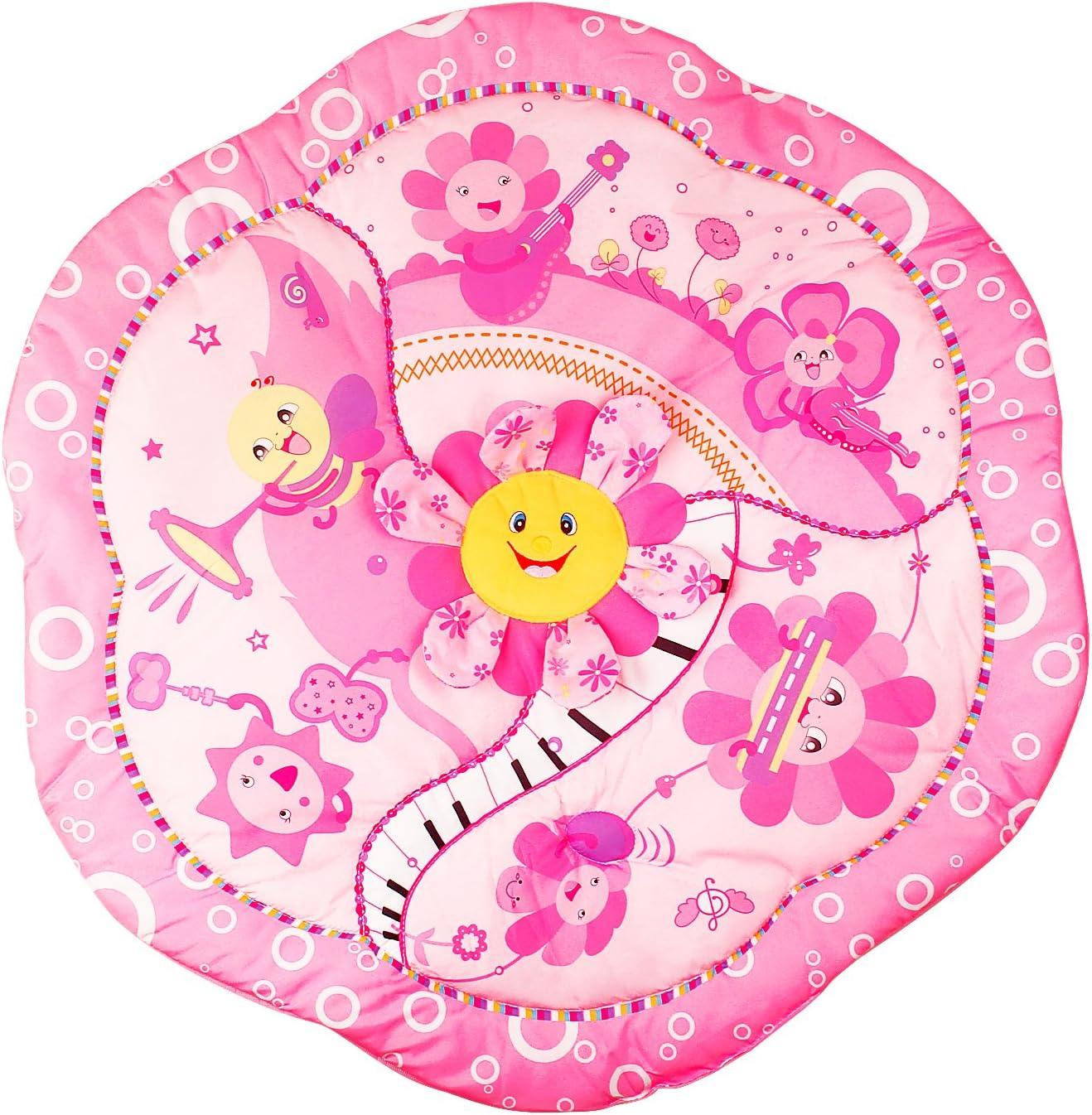 YAOBLUESEA Krabbeldecke mit Spielbogen Spieldecke Erlebnisdecke mit Musik f/ür Baby Rosa Blumen Welt