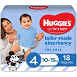 Huggies Ultra Dry Nappies, Boys, Size 4 Toddler (10-15kg), 18 Count
