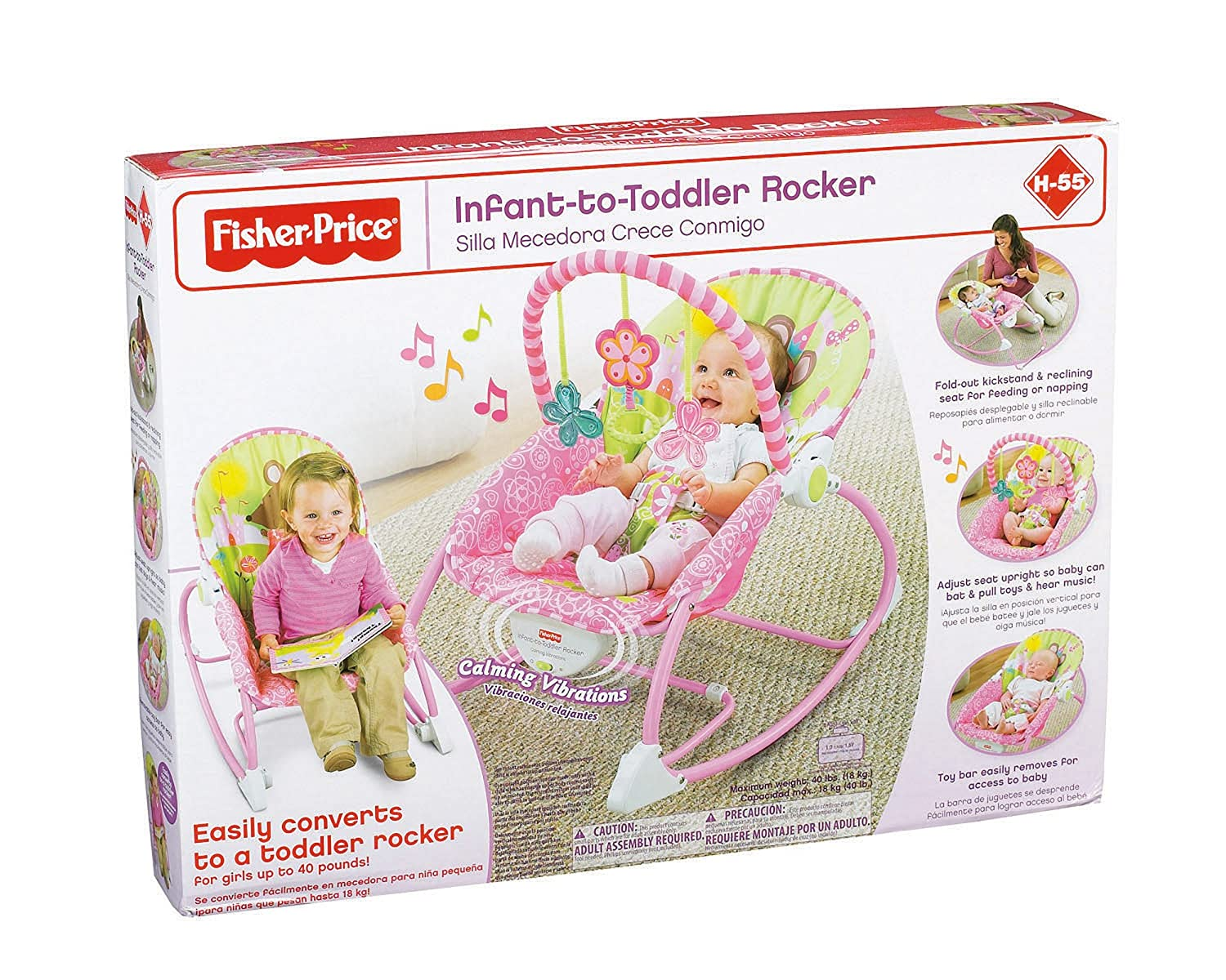 22357c872 Amazon.com: Fisher-Price Infant-to-Toddler Rocker, Princess Mouse: Baby