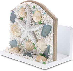 "CoTa Global Nautical Intricate Art ""Oceanic Sea Shell & Starfish"" Wooden Napkin Holder Ocean & Sea Life Themed Tabletop Tissue Organizer Unique Handcrafted Hand-painted Home Accent Accessories"
