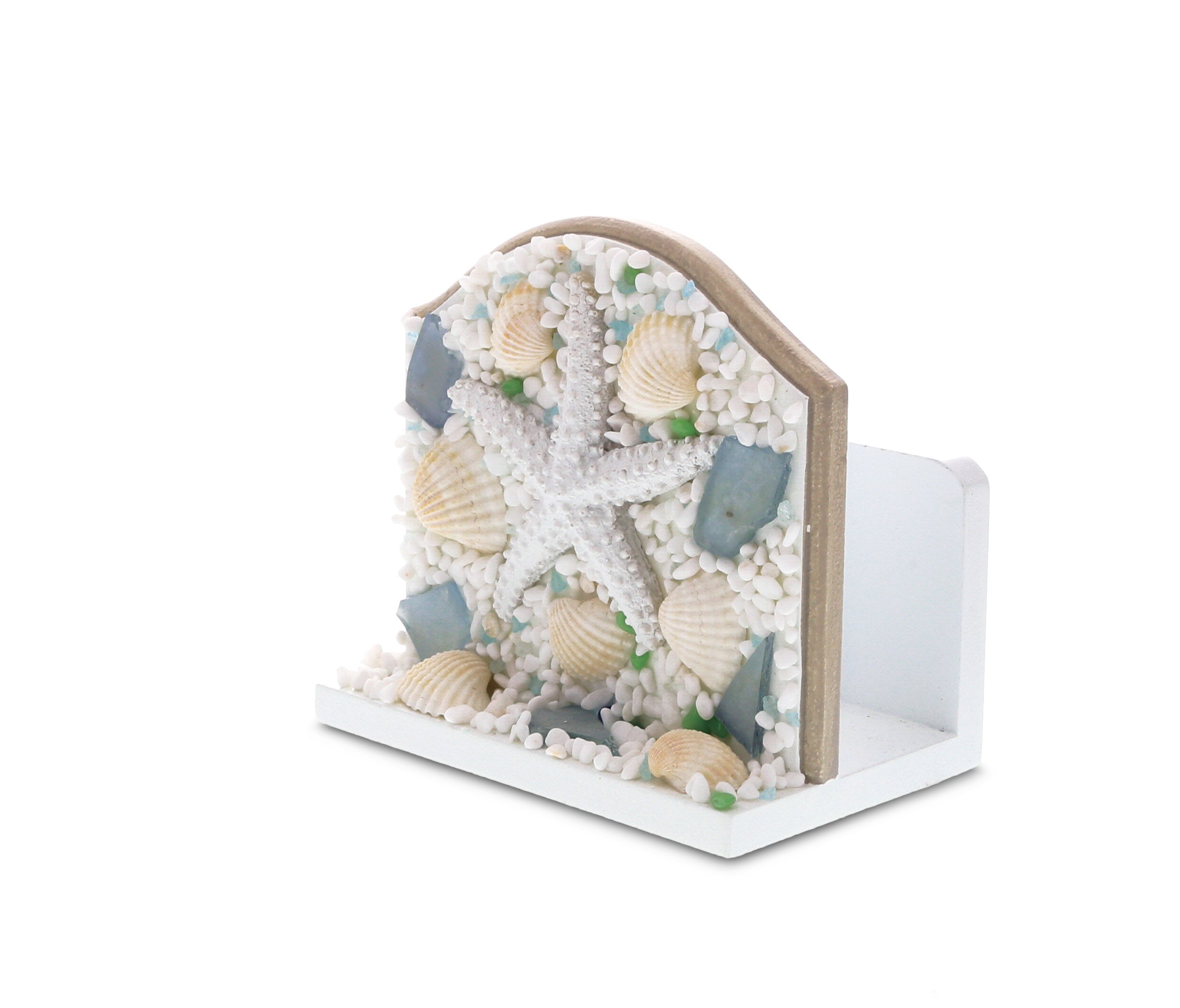 CoTa Global Oceanic Wooden Napkin Wipes or Paper Towel Holder |Beach Starfish Shells and Pebbles Nautical Decor Tableware Accent | 4.8 x 3.1 x 4.6 inches- Item #9174 by CoTa Global