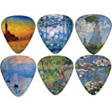 Creanoso Guitar Picks (12-Pack)- Claude Monet Waterlilies Famous Arts Paintings Plectrums - for Acoustic, Electric and Bass Guitars - Stocking Stuffers for Men and Women Guitarists Collectible Set