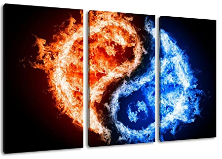 Dark Yin Yang Fire Ice Design 3 Piece On Canvas Total Size