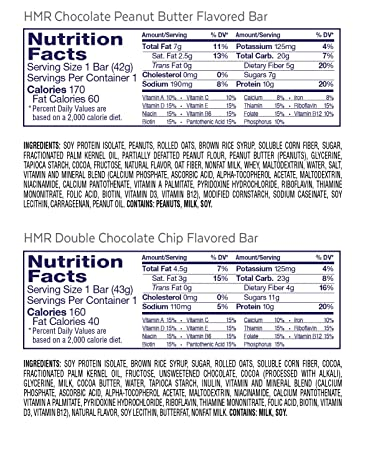 Amazon.com: HMR Bar Combo Pack, includes: 6 each Double Chocolate Chip & Chocolate Peanut Butter Flavored bars, 12 count: