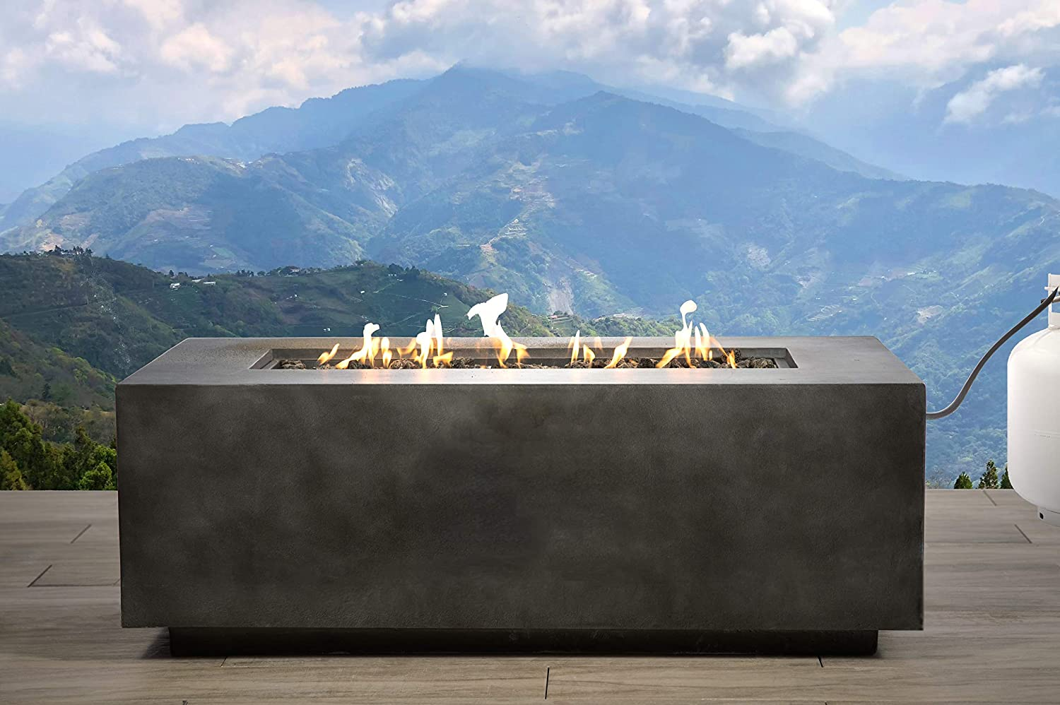 Fire Pit Large Concrete Propane Gas Outdoor Fire Pit Rectangle Fireplace Home Furniture CM-1012G Black