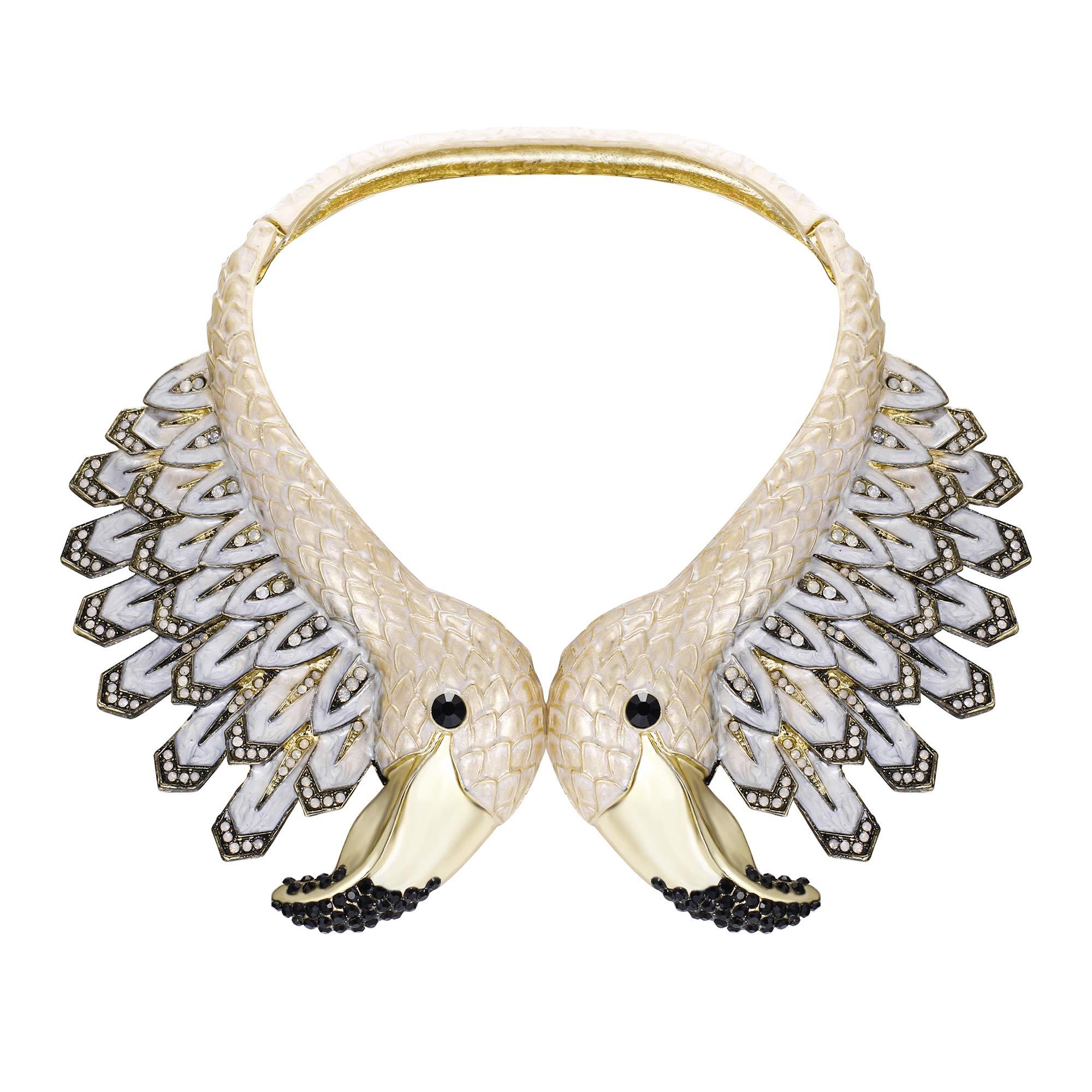 EVER FAITH Vintage Style 2 White Flamingo Statement Choker Necklace Austrian Crystal Gold-Tone