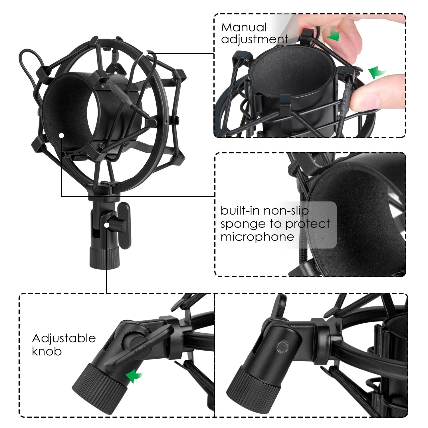 Mugig Mic Shock Mount with Pop Filter for Vocal Recording and Radio Broadcasting, Anti Vibration Suspension Mic Mount Holder Clip for Diameter 41mm-47mm Microphone
