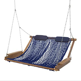 product image for Nags Head Hammocks Cumaru Deluxe Rope Porch Swing, Navy Blue DuraCord