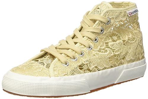 TG. 38 EU Superga 2795Macramew Sneaker a Collo Alto Donna Beige d3i
