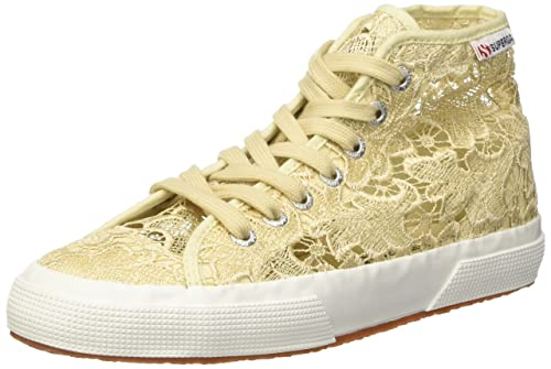 Tg. 36 Superga 2795Macramew Sneaker a Collo Alto Donna Beige Ivory 36