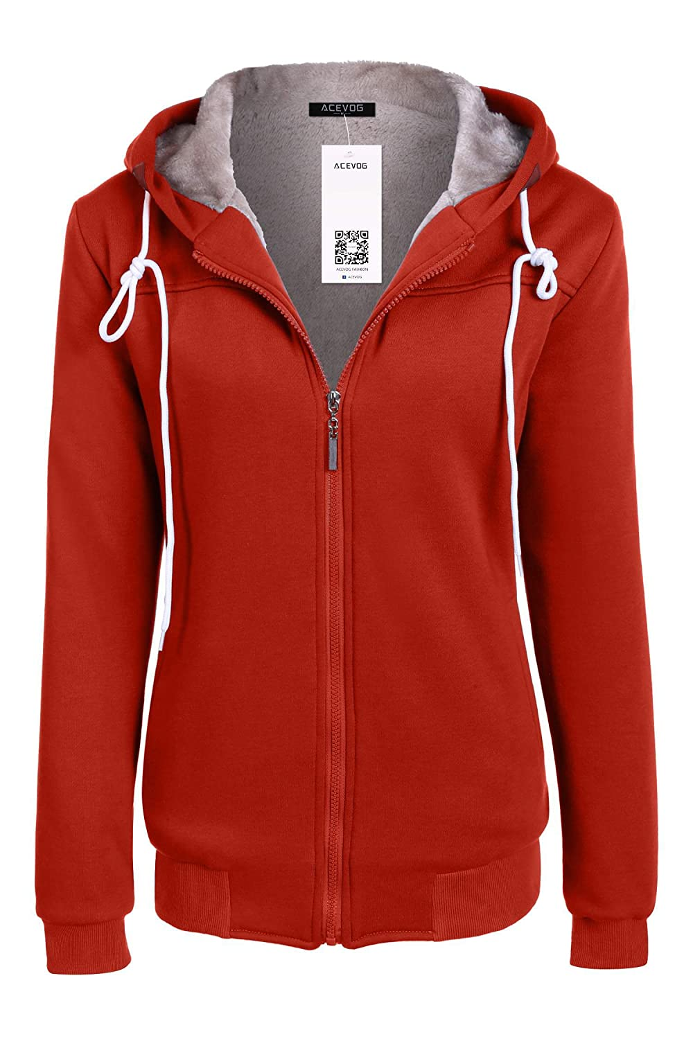 ACEVOG Women Hoody Zipper Long Sleeve Pullover Fleece Hooded Sweatshirt