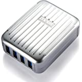 Zendure A-Series 4-Port USB High-Speed Desktop/Wall Charger with 4 ZEN+ Ports (4.2A 21W Max) for Smart Phones, Tablets, Game Consoles, Music Players, Cameras, and More - Silver