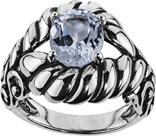 product image for Carolyn Pollack Sterling Silver White Topaz Gemstone Rope and Scroll Ring Size 05 to 10