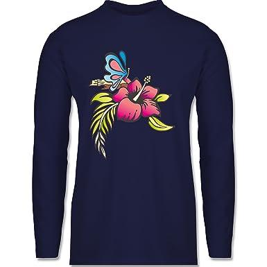 Shirtracer Blumen & Pflanzen - Blumen - S - Navy Blau - BCTU005 - Herren  Langarmshirt