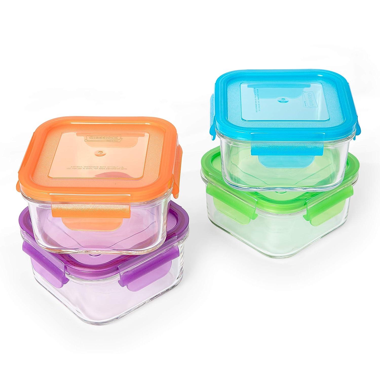 PracticDomus Juego de 4 Contenedores Cuadrados Glasslock 100/% Herm/éticos en Vidrio Templado 4 Colores x 490ml