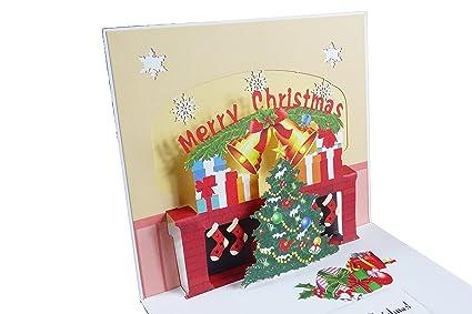 Árbol de Navidad y chimenea diseño 3d Pop Up Tarjeta de ...