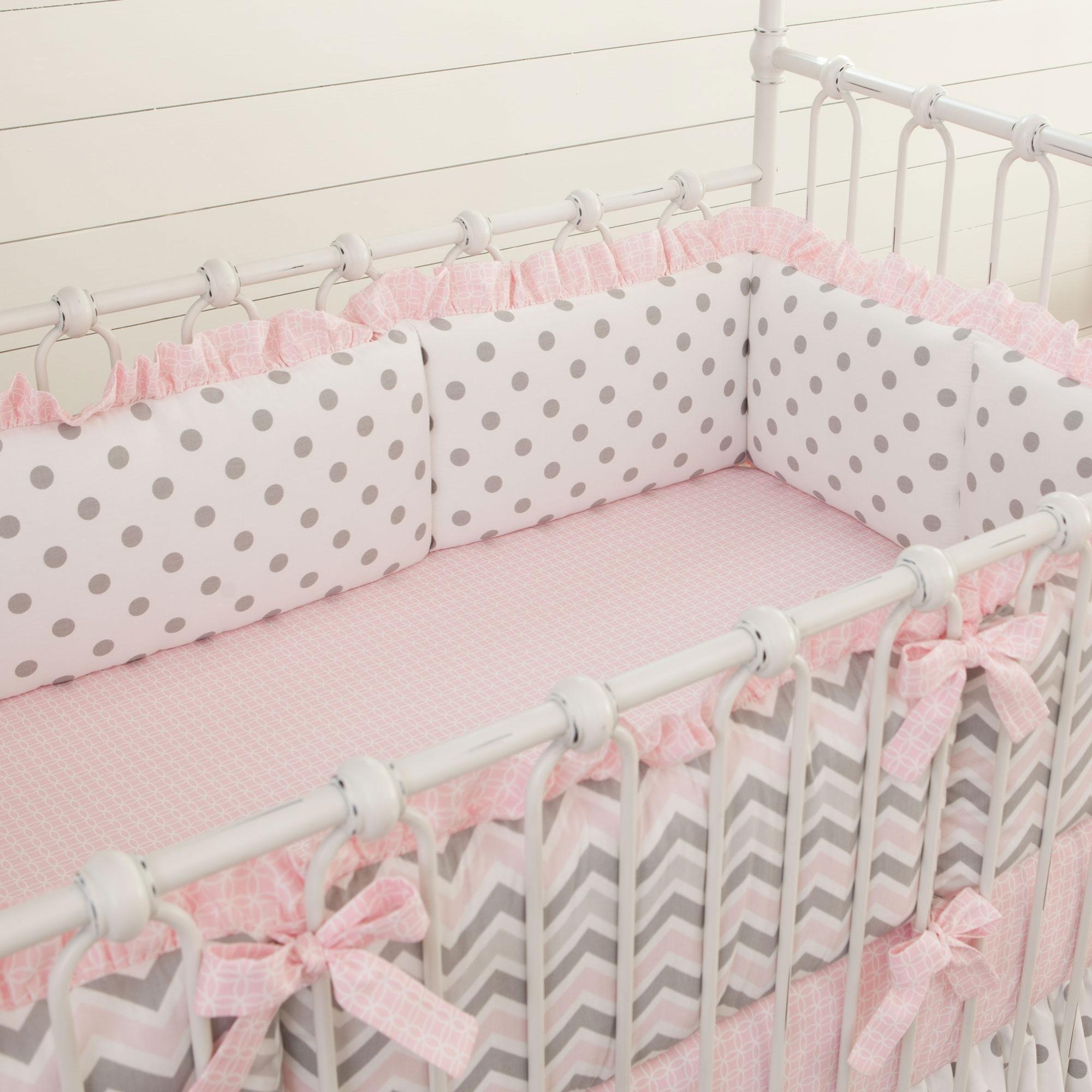 Carousel Designs Pink and Gray Chevron Crib Bumper