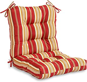 Greendale Home Fashions AZ4808-ROMASTRIPE Tuscan Stripe 38'' x 21'' Outdoor Seat/Back Chair Cushion