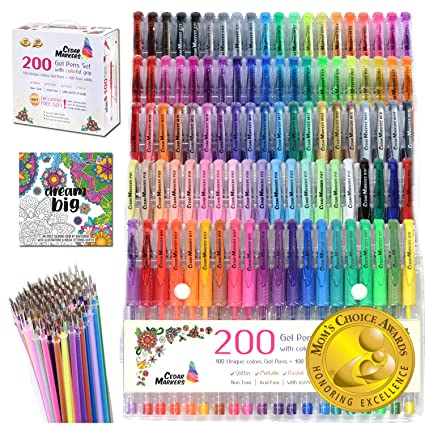 Amazon.com: Cedar Markers Gel Pens. 200 Set with Unique Adult ...