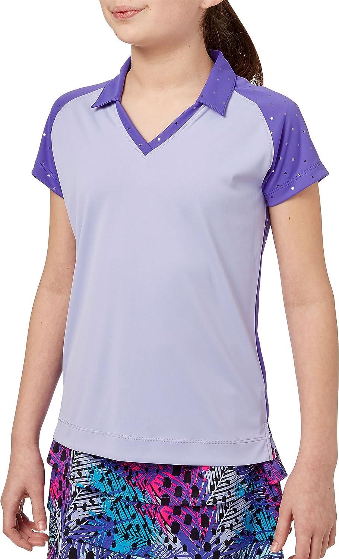 Slazengerガールズ'箔ドットゴルフポロ B07FQP3LXT Large|Simply Purple Simply Purple Large