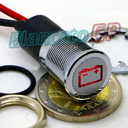 SPIA LED 14mm CON SIMBOLO BATTERIA metallo lampada 12V battery indicator light