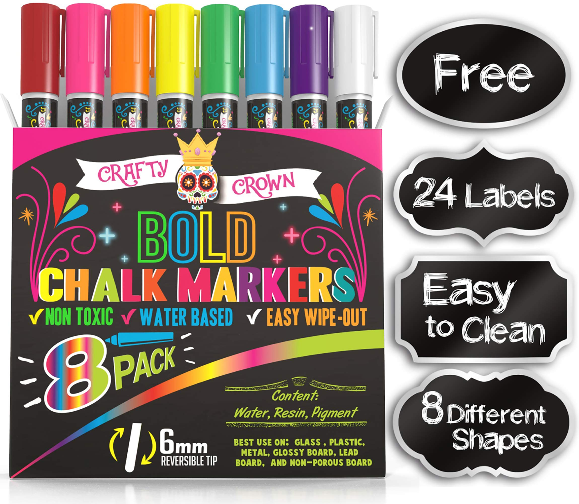 Liquid Chalk Markers for Blackboards - Bold Color Dry Erase Marker - Chalk Markers for Chalkboard Signs, Windows, Blackboard, Glass - 6mm Reversible Tip (8 Pack) - 24 Chalkboard Labels Included by Crafty Crown