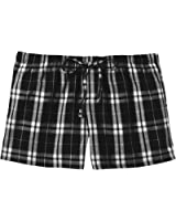 Ladies Soft & Cozy Plaid Flannel Pajama Boxer Shorts . Juniors Sizes: XS-4XL