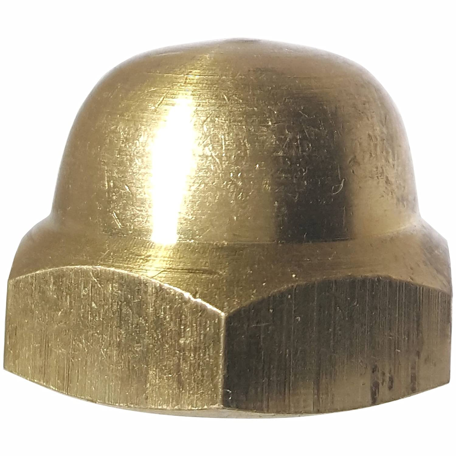 5/8-18 Hex Cap Nuts, Solid Brass, Grade 360, Commercial, Plain Finish, Quantity 5