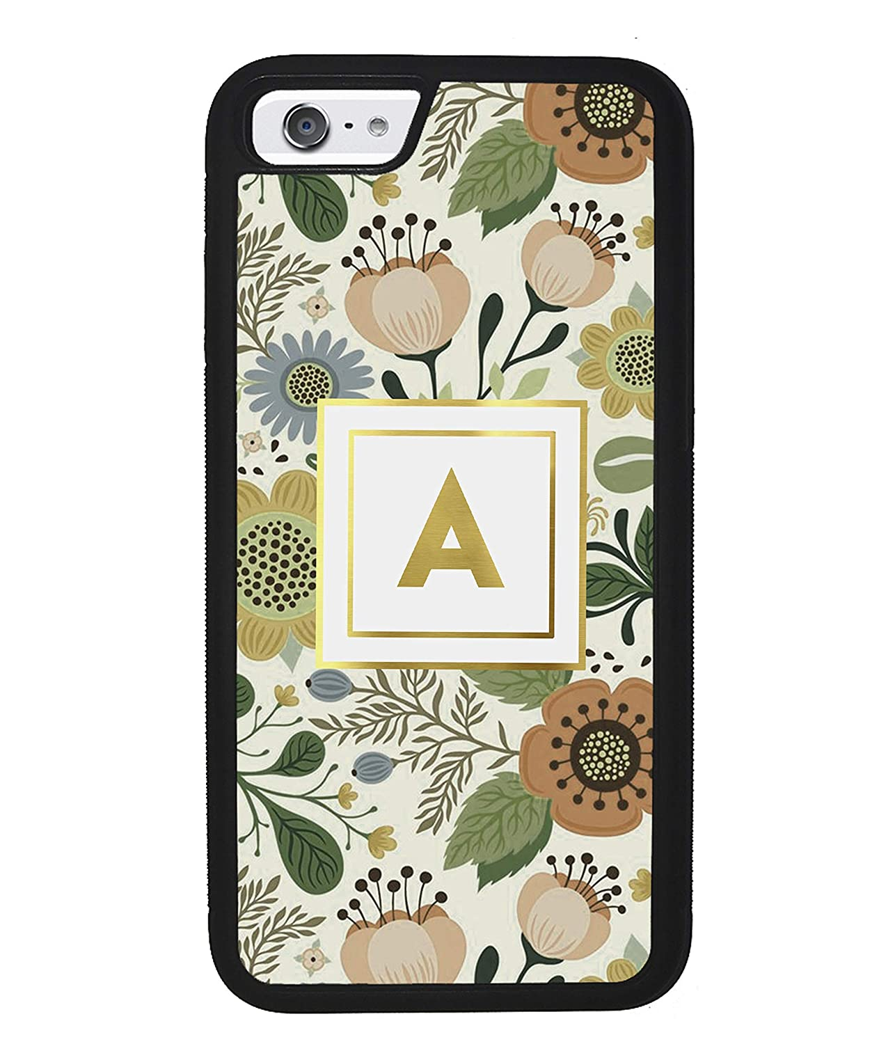 Amazon Com Vintage Flower Pattern Personalized Initial Apple Iphone Black Rubber Phone Case Iphone 11 Pro Max Iphone X Iphone Xs Max Iphone Xr Iphone 8 Iphone 7 Iphone 8 Plus Iphone 7